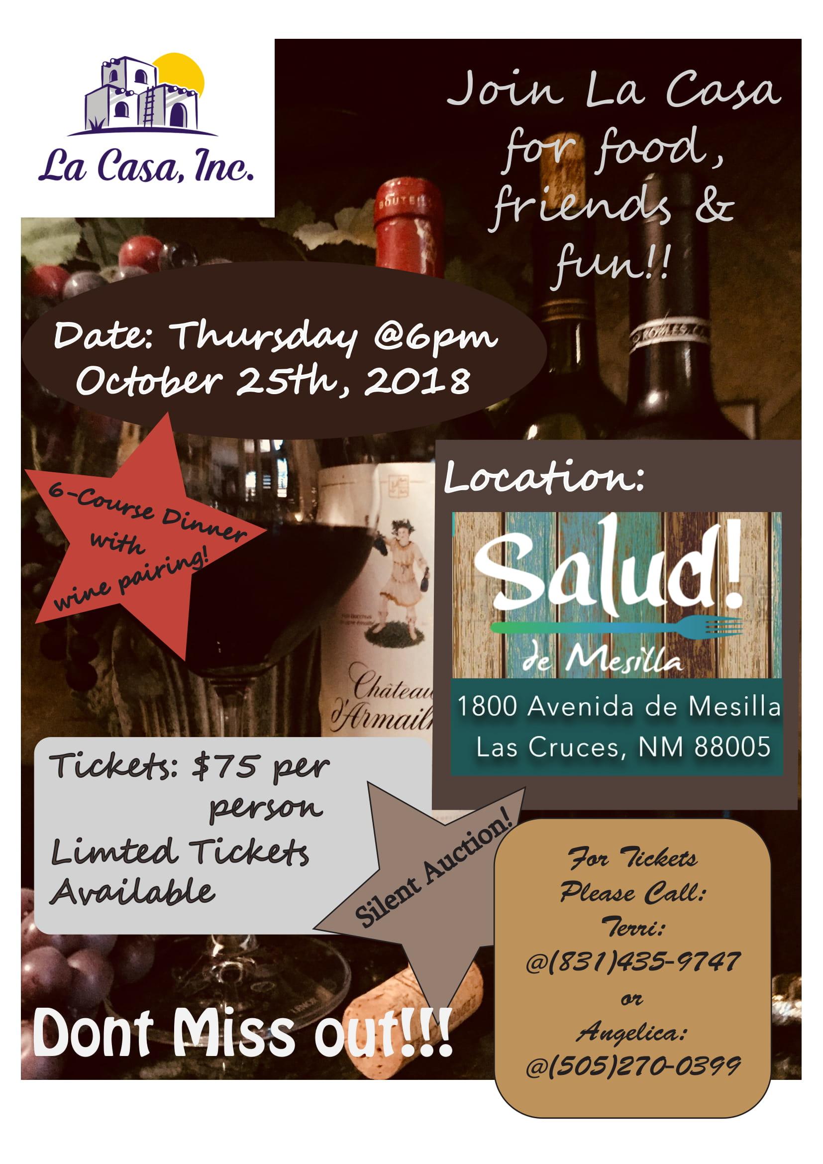 La Casa Wine and Dine Event Invite
